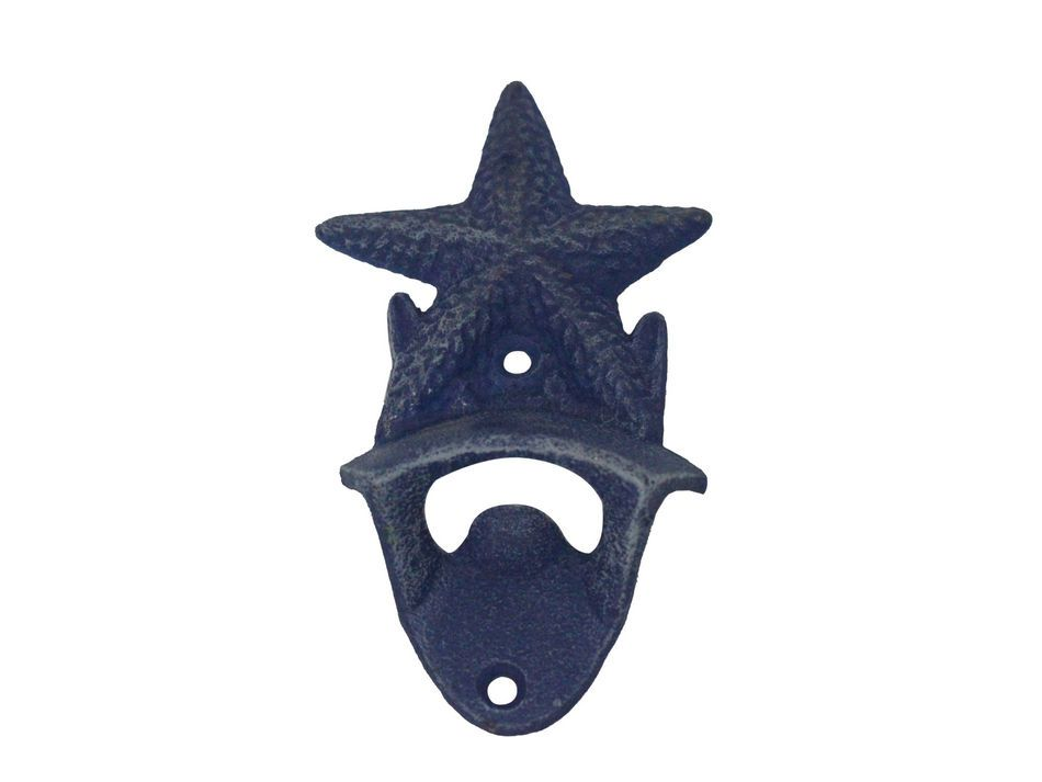 Rustic Dark Blue Cast Iron Wall Mounted Starfish Bottle Opener 6