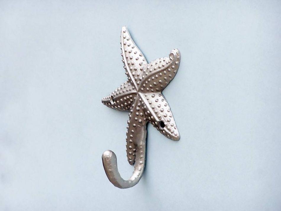 Gold Starfish Wall Decor : Silver finish starfish hook quot