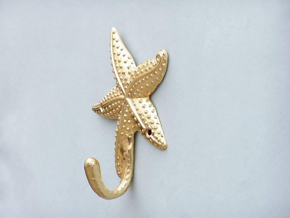 Gold Starfish Wall Decor : Gold finish starfish hook quot