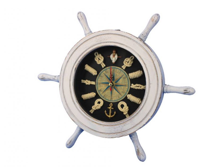Buy Wooden Whitewashed Ship Wheel With Dark Blue Knot Face