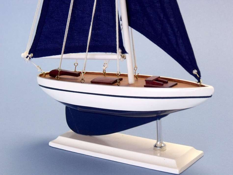 Buy Wooden Blue Pacific Sailer with Blue Sails Model