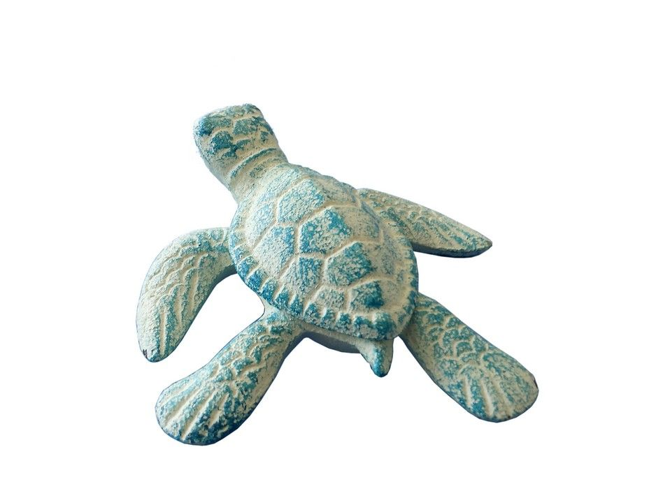 Buy light blue cast iron sea turtle 4 inch wholesale sea for Turtle decorations for home