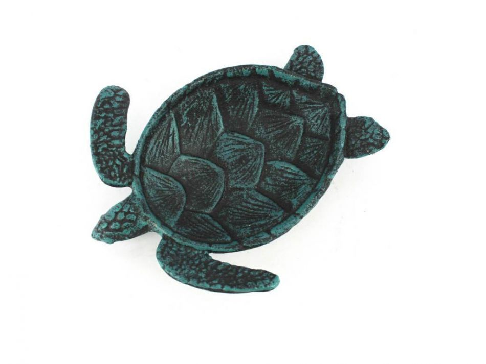 Buy seaworn blue cast iron sea turtle decorative bowl 7 for Turtle decorations for home
