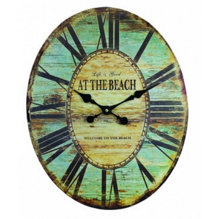 Buy Wooden Vintage At The Beach Wall Clock 19 Inch Nautical
