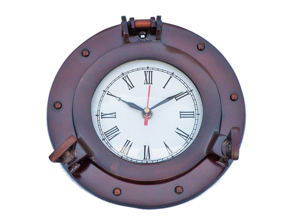 buy antique copper deluxe class porthole clock 8 inch
