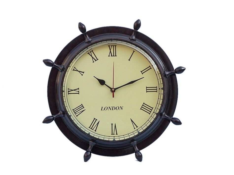 Buy Antique Copper Ship Wheel Clock 15 Inch - Nautical Decorating Ideas