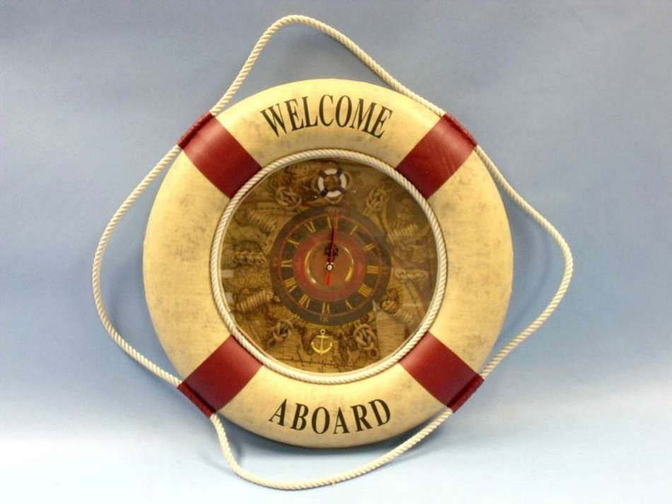 Buy Red Welcome Aboard Life Preserver Clock 29 Inch - Nautical