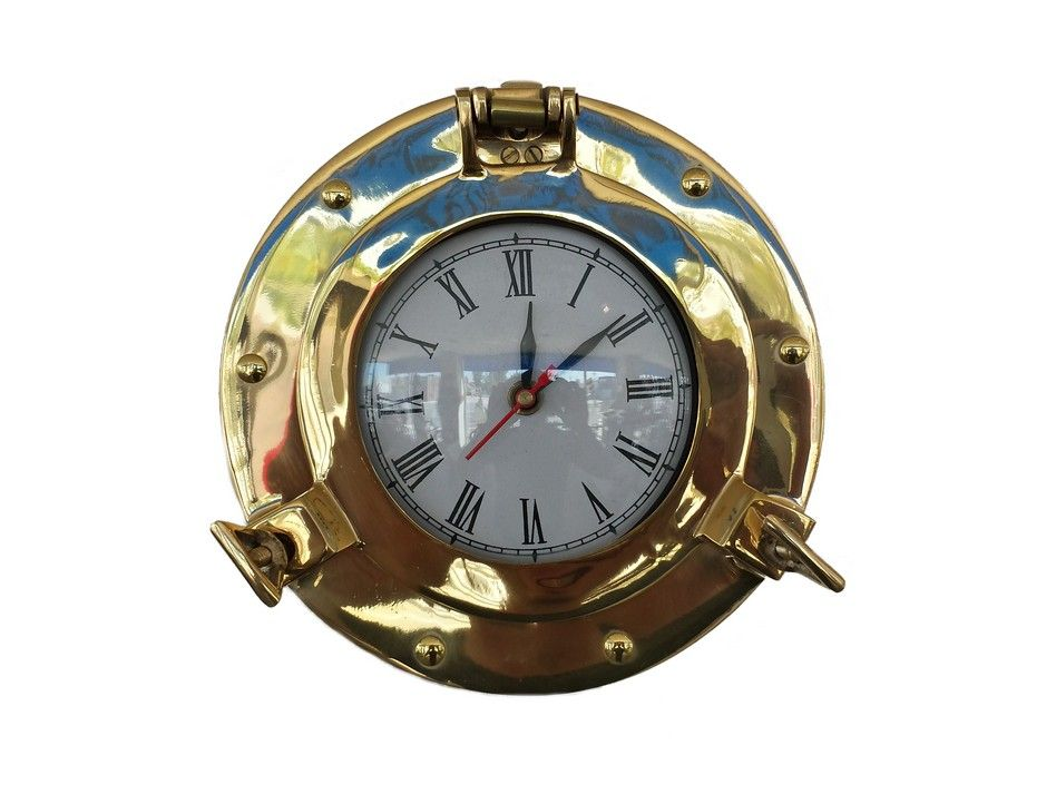 Buy brass deluxe class porthole clock 8 inch wholesale for Seashell wall clock