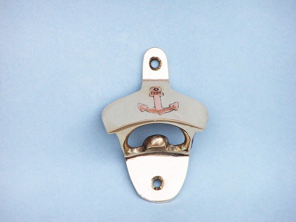 solid brass wall mounted anchor bottle opener 3 decorative bottle openers. Black Bedroom Furniture Sets. Home Design Ideas