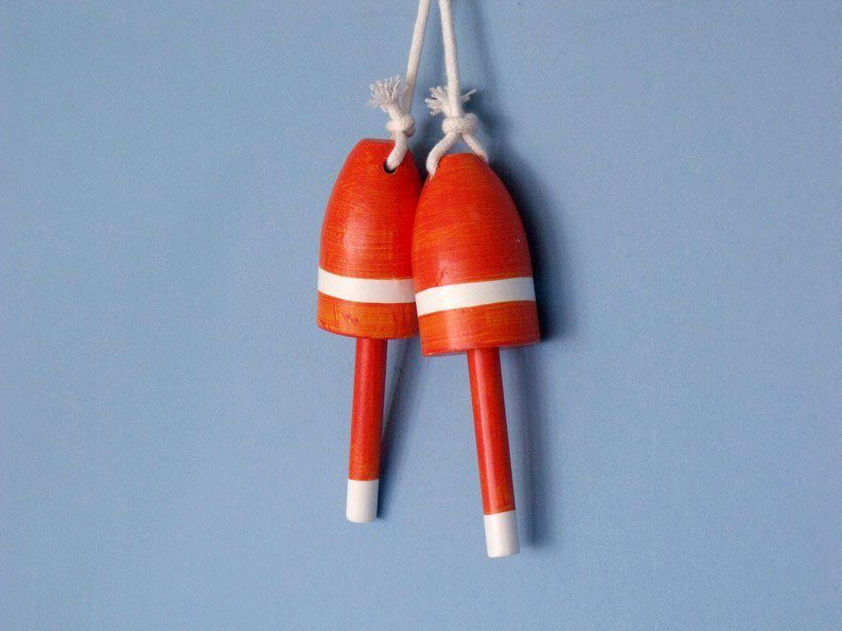 Buy Set of 2 - Wooden Orange Decorative Maine Lobster Trap Buoy 7in - Model Ships