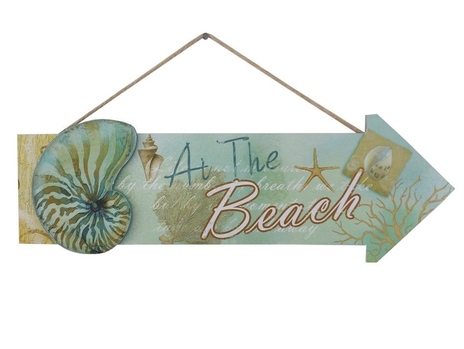 Buy wooden arrow at the beach seashell sign 16 inch for Wholesale decor