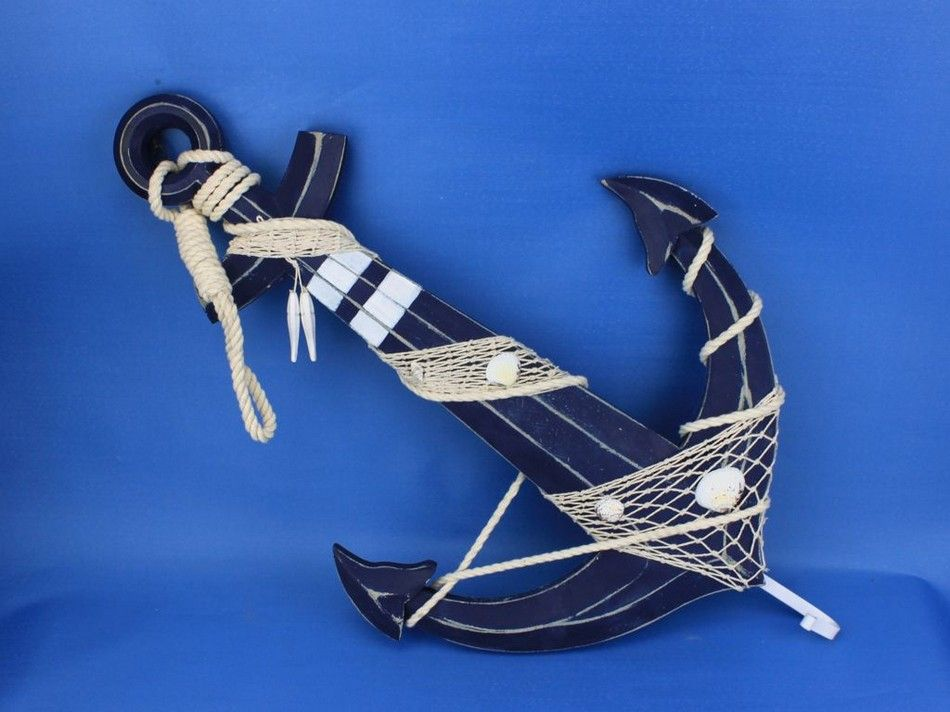 Buy wooden rustic blue anchor w hook rope and shells 24 quot model ship