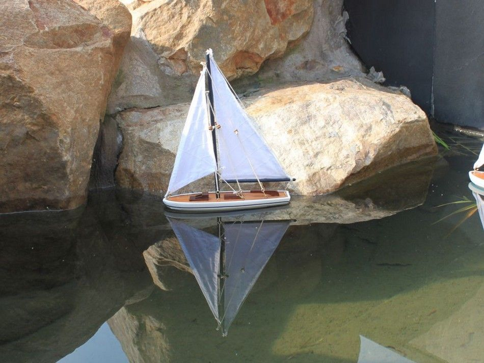 Lobster Boats For Sale >> Buy Wooden It Floats 12in - Blue Floating Sailboat Model ...