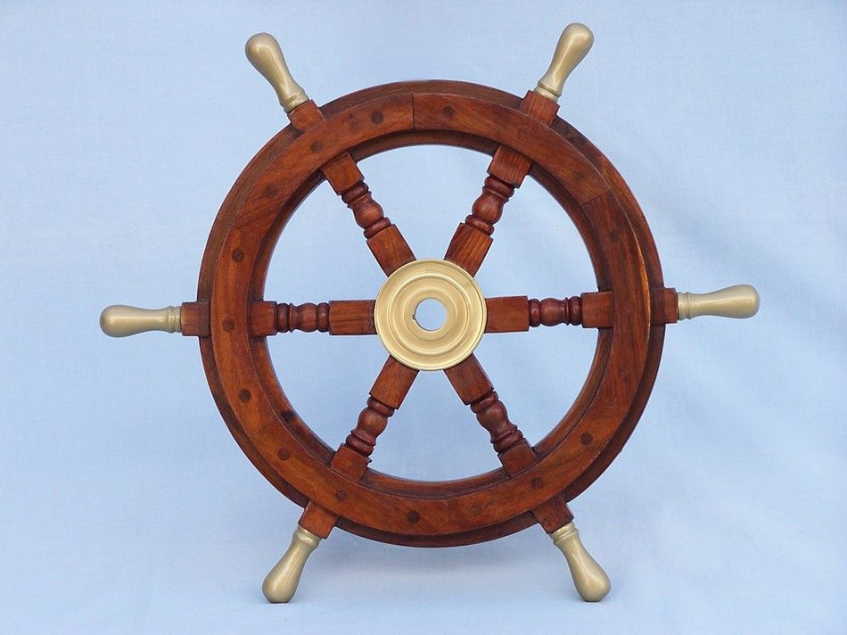 Buy Wood And Brass Ship Wheel 18 Inch With Brass Spokes