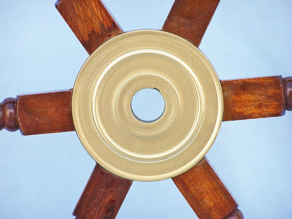 Buy Wood And Brass Ship Wheel 24in With Brass Spokes