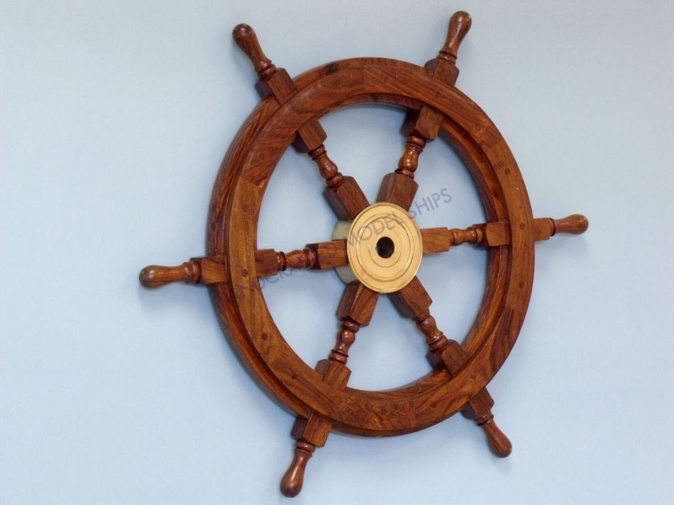 Wooden Coastal Decor: Buy Deluxe Class Wood And Brass Decorative Ship Wheel 30