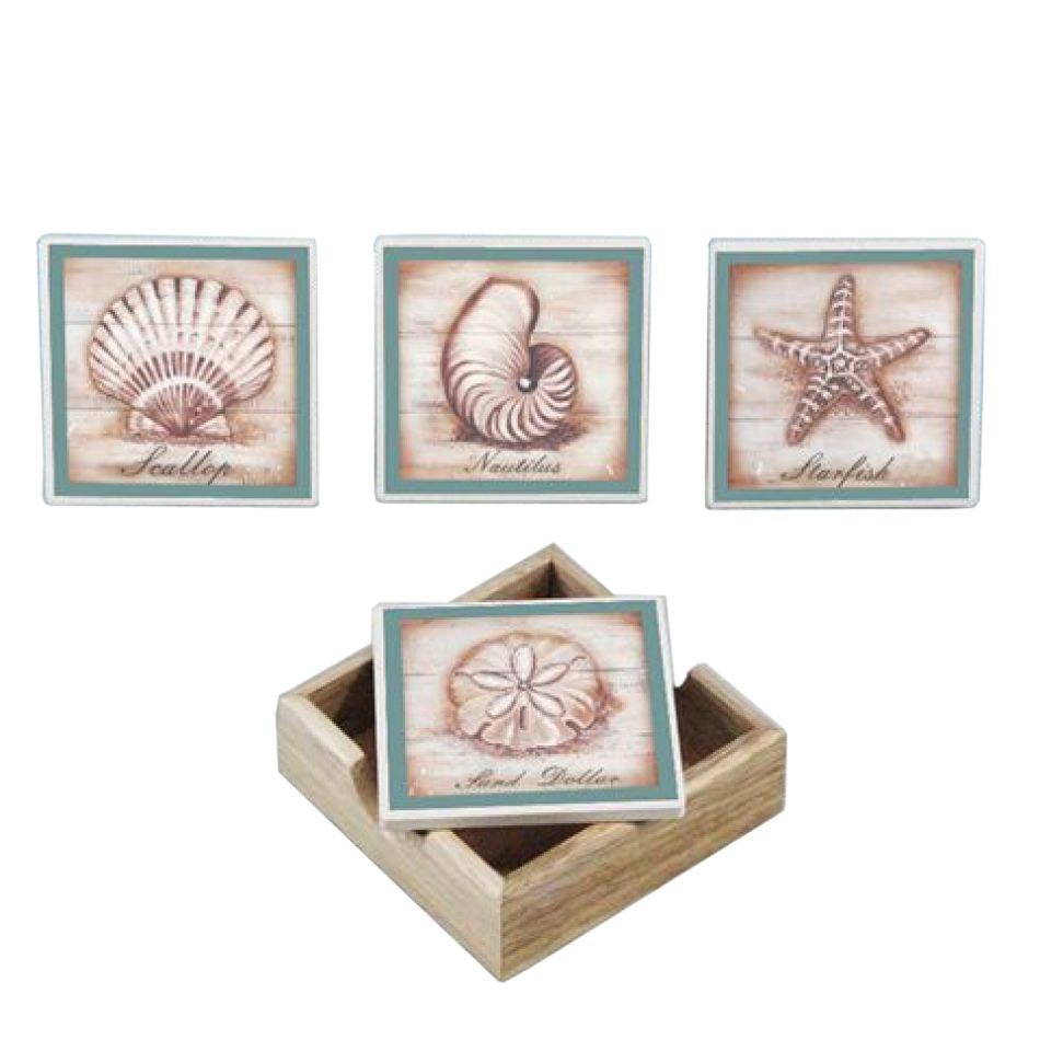 Buy Set Of 4 Ceramic Seashell Coasters W Holder Sea