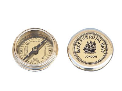 Solid Brass Navy Pocket Compass 3