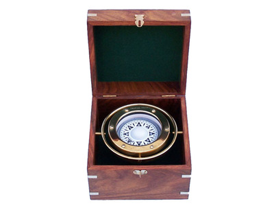 Solid Brass Gimble Compass w- Rosewood Box 6