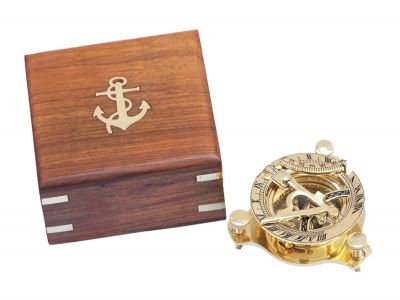 Solid Brass Captain\'s Triangle Sundial Compass w/ Rosewood Box 3""