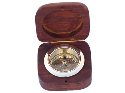 Brass Desk Compass w- Rosewood Box 3