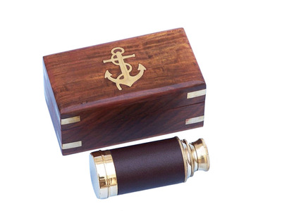 Scouts Brass - Leather Spyglass Telescope 7 w- Rosewood Box