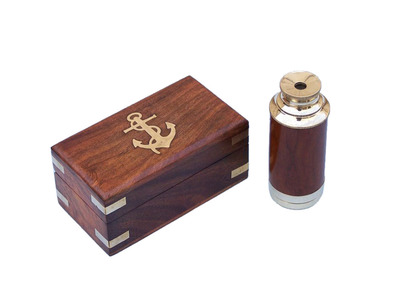 Solid Brass - Wood Scouts Spyglass Telescope 7 w- Rosewood Box