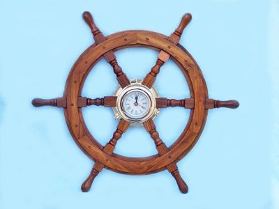 Ship Wheel Clock 24