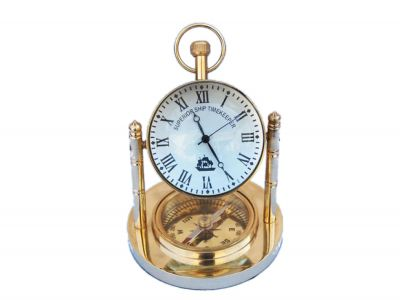 Solid Brass Clock with Compass 5