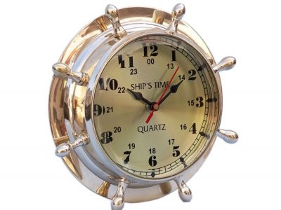 Brass Double Dial Porthole Wheel Clock 8