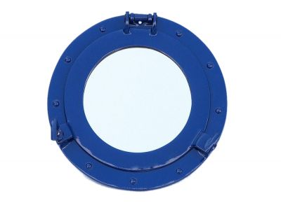 "Brass Deluxe Class Decorative Ships Porthole Mirror 12"" - Dark Blue"