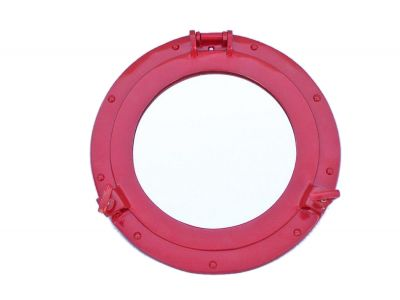 Brass Deluxe Class Porthole Mirror 12 - Dark Red