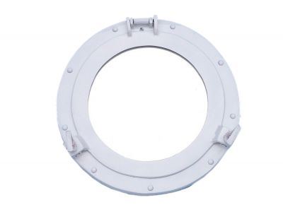 Brass Deluxe Class Porthole Mirror 12 - White