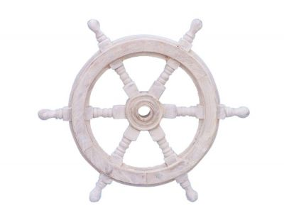 Classic Wooden Whitewashed Ship Steering Wheel 12