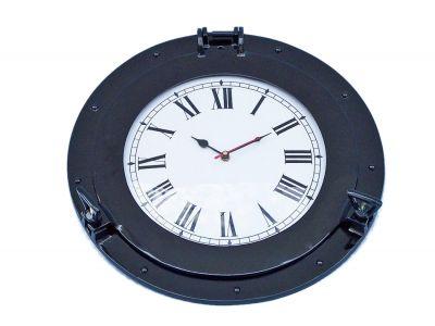 Brass Deluxe Class Porthole Clock 15 - Dark Blue