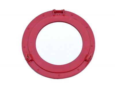 Brass Deluxe Class Porthole Mirror 15 - Dark Red