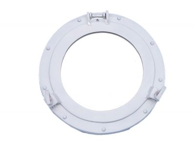 Brass Deluxe Class Porthole Mirror 15 - White