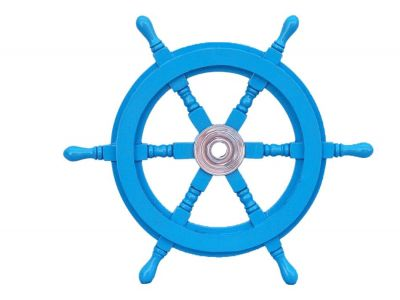 Deluxe Class Light Blue Wood and Chrome Ship Steering Wheel 18