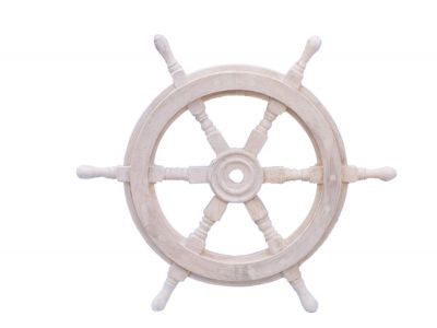 Classic Wooden Whitewashed Ship Steering Wheel 18