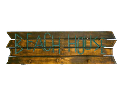 Wooden Brown Beach House Sign w-Pegs 38