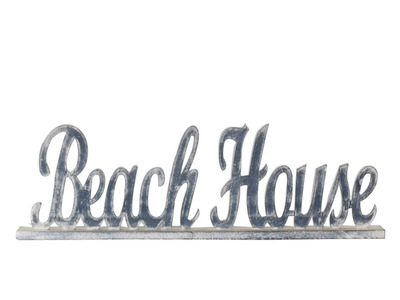 Wooden Blue Beach House Table Word Sign 19