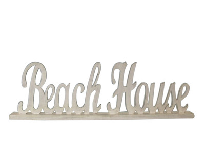 Wooden White Beach House Table Word Sign 19