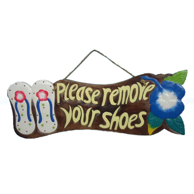 Wooden Please Remove Your Shoes Sign 21