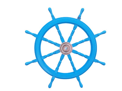 Deluxe Class Light Blue Wood and Chrome Ship Steering Wheel 36
