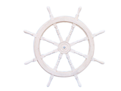 Classic Wooden Whitewashed Ship Steering Wheel 36