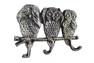 Rustic Silver Cast Iron Owl Wall Hooks 9\