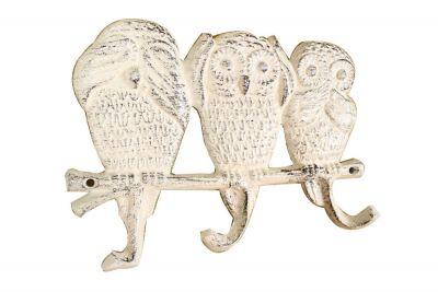 Whitewashed Cast Iron Owl Wall Hooks 9\