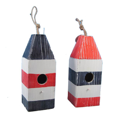 Set of 2 - Wooden Buoy Birdhouses 12