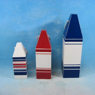 Wooden Patriotic 3 Piece Nautical Buoy Set 12