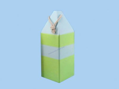 Wooden Blue and Green Buoy w-Rope 14